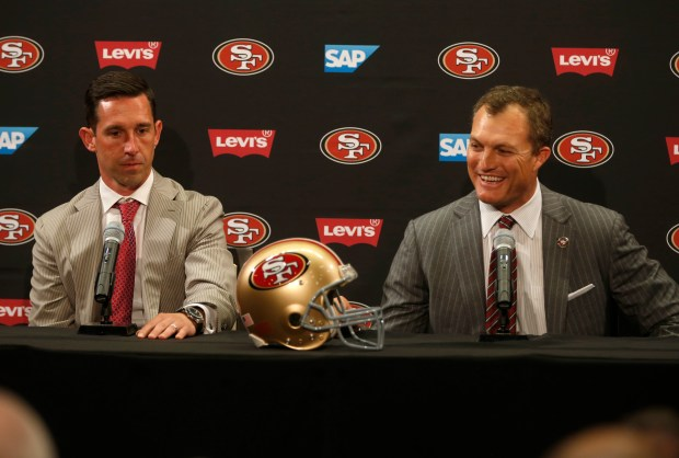 San Francisco 49ers head coach Kyle Shanahan, left, and general manager John Lynch speak during a press conference following their first round picks for the 2017 NFL Draft at Levi's Stadium in Santa Clara, Calif. on Thursday, April 27, 2017. (Nhat V. Meyer/Bay Area News Group)