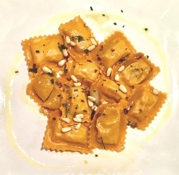 At Enzo's in Cupertino, the seafood ravioli is sauteed with Calabresepeppers and olive oil. (Photo courtesy of Enzo's)