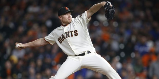 San Francisco Giants' Mark Melancon (41) throws against the Los Angeles Dodgers in the ninth inning at AT&T Park in San Francisco, Calif. on Monday, April 24, 2017. (Nhat V. Meyer/Bay Area News Group)