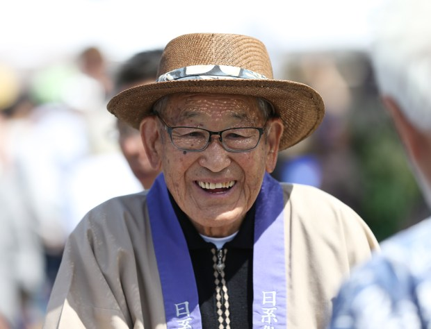 Jim Yamaichi, board chairperson of the Nikkei Matsuri committee, is photographed at the 40th annual Nikkei Matsuri Festival in Japantown in San Jose, Calif., on Sunday, April 23, 2017. This year's Nikkei Matsuri coincides with the 60th anniversary of the City of San Jose-Okayama sister cities celebration. (Josie Lepe/Bay Area News Group)