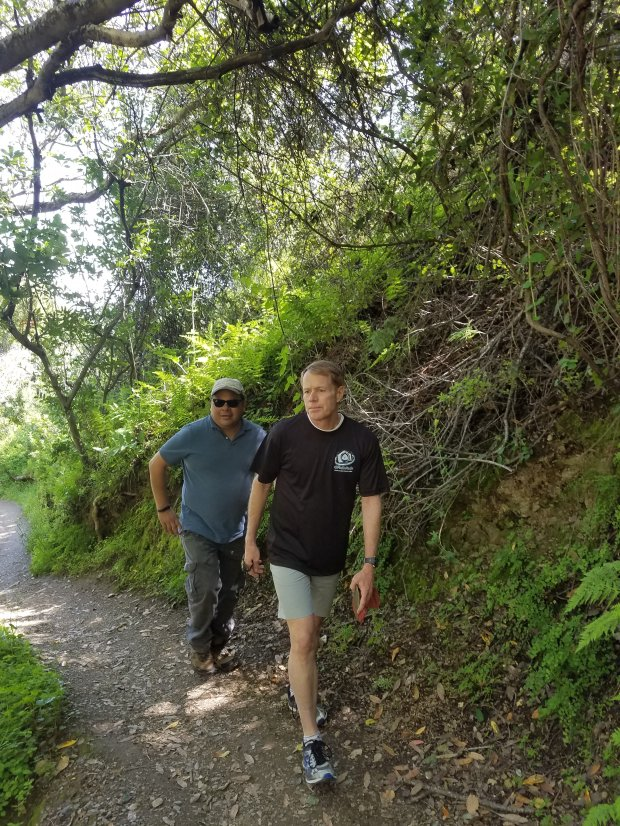Mercury News columnist Sal Pizarro, left, and Santa Clara County SupervisorKen Yeager hike along the Lookout Trail at Montalvo County Park in San Jose on March 30, 2017. (Photo courtesy Supervisor Ken Yeager's Office)