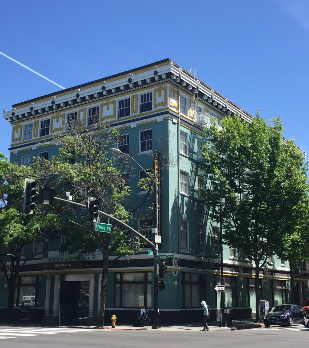 The Hotel Clariana is the latest occupant of 100 E. Santa Clara St. indowntown San Jose, a historic structure built around 1912 that was originally the home of the YMCA. (Sal Pizarro/Staff)