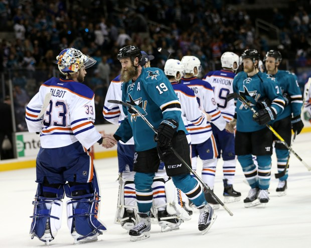 Edmonton Oilers goaltender Cam Talbot (33) shakes hands with San Jose Sharks' Joe Thornton (19) after winning 3-1 in the third period of Game 6 of the NHL Western Conference quarterfinals at SAP Center in San Jose, Calif., on Saturday, April 22, 2017. (Josie Lepe/Bay Area News Group)