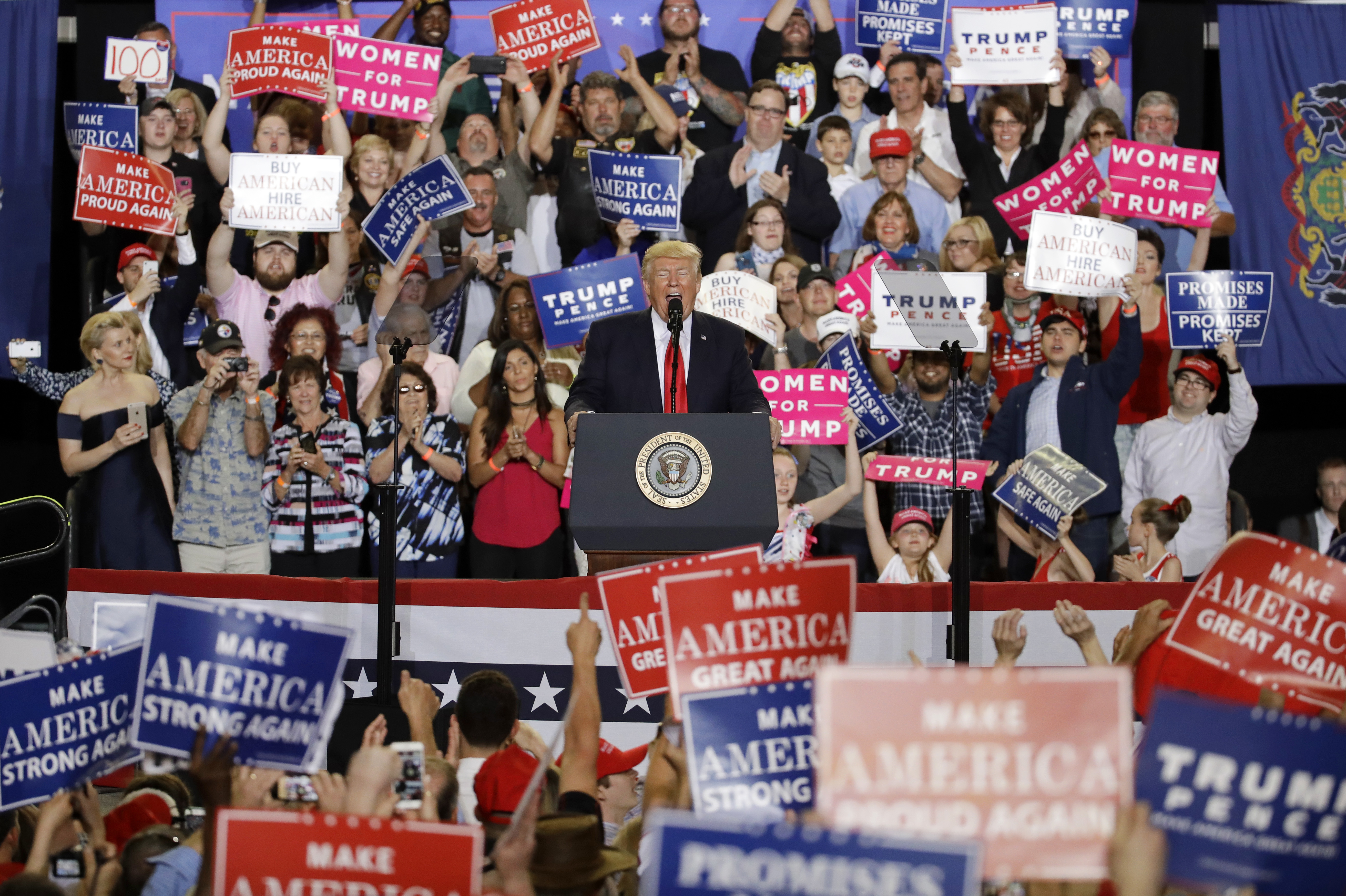 President Donald Trump speaks at a rally in Harrisburg, Pa., Saturday, April 29, 2017. (AP Photo/Patrick Semansky)