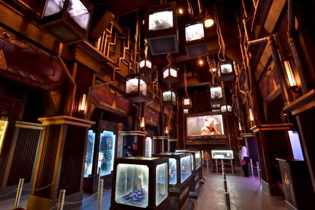 The lobby area of the new Guardians of the Galaxy- Mission Breakout! is full of display cases owned by the character The Collector at Disney California Adventure in Anaheim, California, on Wednesday, May 17, 2017. The ride, similar to The Twilight Zone Tower of Terror it replaced, gives the riders a sensation of free-falling as doors open with new visual effects from the Guardians of the Galaxy universe. (Photo by Jeff Gritchen, Orange County Register/SCNG)