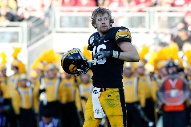 PASADENA, CA - JANUARY 01: Quarterback C.J. Beathard #16 of the Iowa Hawkeyes looks on against the Stanford Cardinal in the 102nd Rose Bowl Game on January 1, 2016 at the Rose Bowl in Pasadena, California. (Photo by Sean M. Haffey/Getty Images)