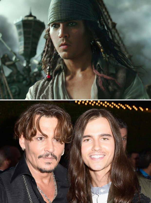"The face in the flashback scenes of the new ""Pirates of the Caribbean"" movie (top) digitally merges those of actors Johnny Depp and Anthony de la Torre (bottom). (Photo by Marc Flores/Getty Images for Disney)"