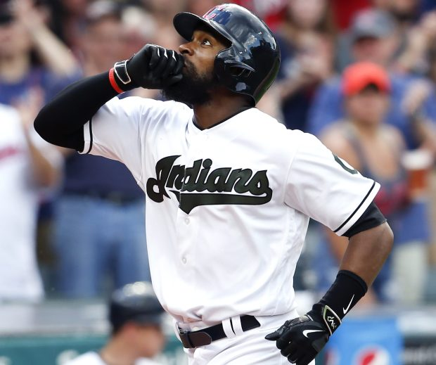 Austin Jackson of the Cleveland Indians celebrates after hitting a solo home run (Photo by Ron Schwane/Getty Images)