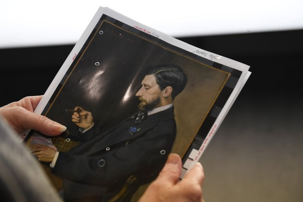 A photograph of Frederic Bazille's painting of Edmond Maitre from 1869 ispart of a new exhibit on Bazille at the National Gallery of Art. (Washington Post photo by Matt McClain)