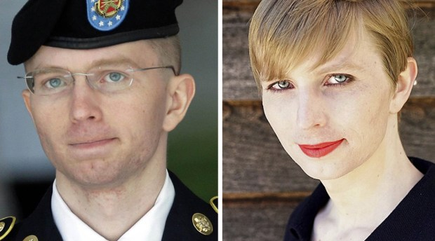 Archival photo of Bradley Manning, left, and the new image tweeted Thursday by Chelsea Manning. (Associated Press)