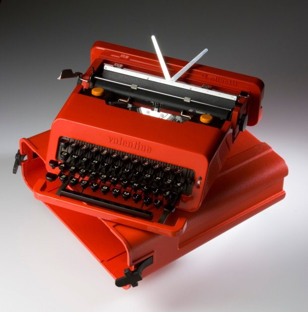 """Ettore Sotsass and Perry A. King's Valentine Portable Typewriter and Case-- designed for Olivetti in 1969 -- are on view in """"Creativity on the Line"""" at the Cantor Arts Center. (LA County Museum of Art)"""