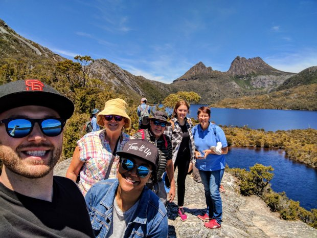 ESCOBAR FAMILYTASMANIA: San Jose newlyweds Louie and Thyra Vargas and Louie's parents, Sue and Erich Escobar, visited Cradle Mountain in Tasmania in December, with locals and close family friends, Chloe and Kate Jackson.