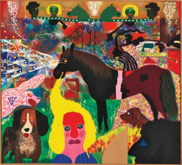 """Roy De Forest, """"Wise Horse's Dream"""" (1972). ( © Estate of Roy DeForest/Licensed by VAGA, New York)"""