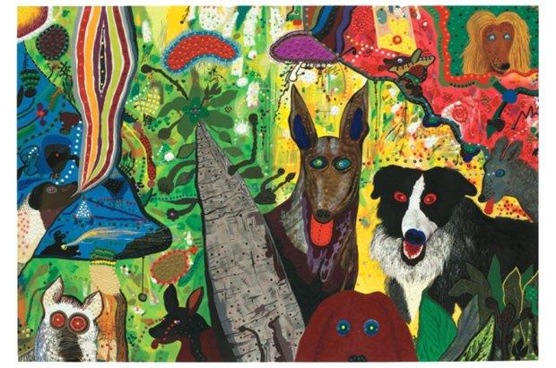 "Roy De Forest, ""Country Dog Gentlemen"" (1972). (© Estate of Roy DeForest/Licensed by VAGA, New York)"