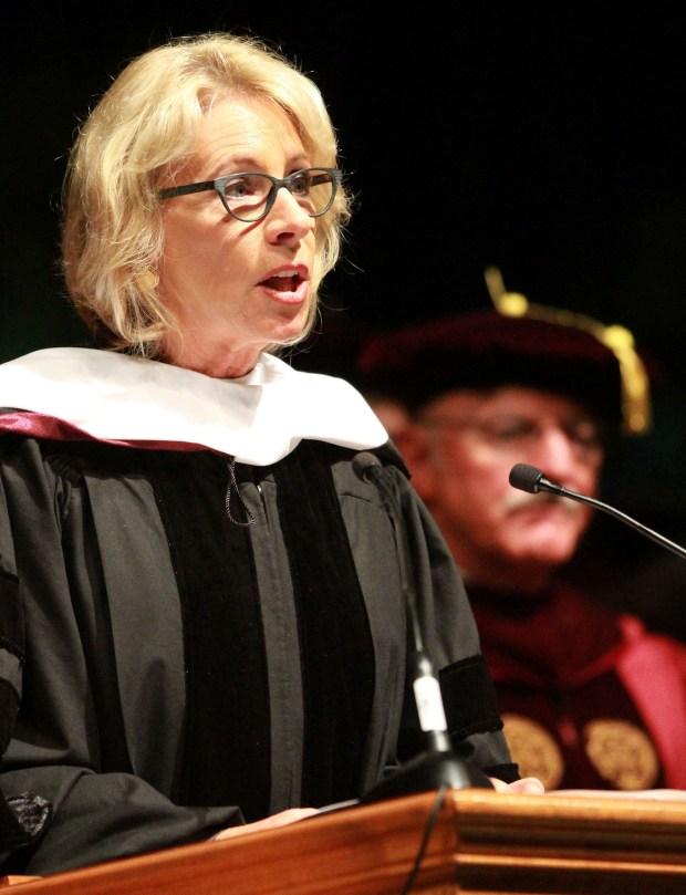 U.S. Secretary of Education Betsy DeVos delivers the commencement address to Bethune-Cookman University graduates at the Ocean Center in Daytona Beach, Fla., Wednesday, May 10, 2017. (David Tucker/The Daytona Beach News-Journal via AP)