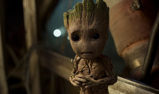 """This image released by Disney-Marvel shows Groot, voiced by Vin Diesel, in a scene from, """"Guardians Of The Galaxy Vol. 2."""" (Disney-Marvel via AP)"""