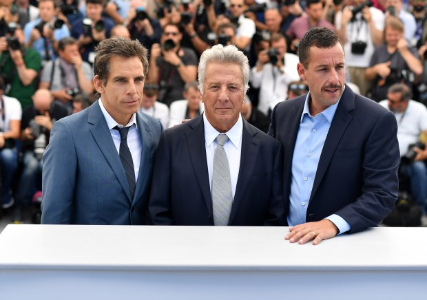 "CANNES, FRANCE - MAY 21: -L-R) Actors Ben Stiller, Dustin Hoffman and Adam Sandler attend ""The Meyerowitz Stories"" photocall during the 70th annual Cannes Film Festival at Palais des Festivals on May 21, 2017 in Cannes, France. (Photo by Pascal Le Segretain/Getty Images)"