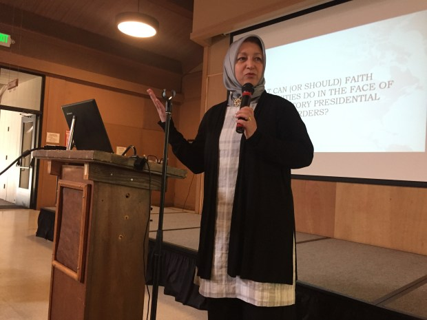 Maha Elgenaidi, founder of the San Jose-based Islamic Networks Group, talks at the First Congregational Church in San Jose about Islamophobia and making community connections to fight it on Sunday, May 21, 2017.