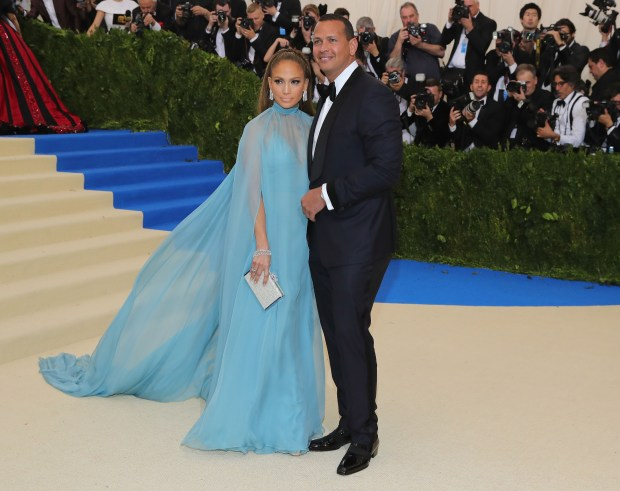 "NEW YORK, NY - MAY 01: Jennifer Lopez (L) and Alex Rodriguez attend the ""Rei Kawakubo/Comme des Garcons: Art Of The In-Between"" Costume Institute Gala at Metropolitan Museum of Art on May 1, 2017 in New York City. (Photo by Neilson Barnard/Getty Images)"