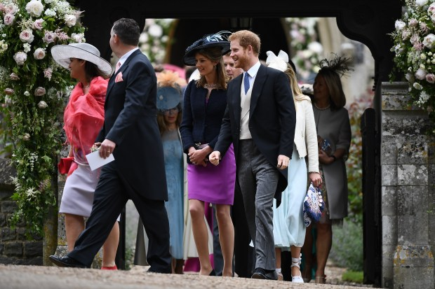 Prince Harry and guests leave Pippa Middleton's wedding ceremony. (Photo by Justin Tallis - WPA Pool/Getty Images)