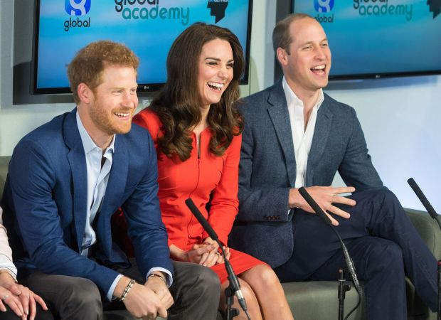 HAYES, ENGLAND - APRIL 20: Prince William, Duke of Cambridge, Catherine, Duchess of Cambridge and Prince Harry attend the official opening of The Global Academy in support of Heads Together at The Global Academy on April 20, 2017 in Hayes, England. (Photo by Dominic Lipinski - WPA Pool /Getty Images)