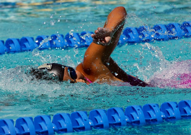 Cathy Teng of Archbishop Mitty wins the Girls 200 Yard Freestyle event with time of 1:46.31 at the 2017 Central Coast Section Swimming and Diving Championships finals at the Santa Clara International Swim Center in Santa Clara, Calif., on Saturday, May 13, 2017. (LiPo Ching/Bay Area News Group)