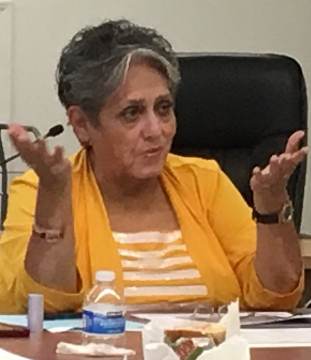 Dolores Marquez, a member of the Alum Rock Union School District board,chairs the district's Bond, Facilities and Finance Committee that serves as a gatekeeper for bond-financed projects and other building in the district. She is shown here at a committee meeting Friday, May 19, 2017. Marquez has been criticized for convening meetings at noon on weekdays, when working people find it hard to attend. (Sharon Noguchi/Bay Area News Group)