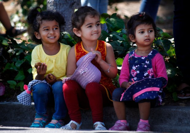 Shire Kota, 3, (left) watches the India Day parade alongside Tisha Bandi, 3, and her sister Anika, 2, from a Paseo Padre Parkway curb Sunday, Aug. 14, 2016, in Fremont, Calif. (Karl Mondon/Bay Area News Group)