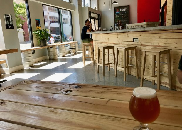 Channel Brewing opened its tasting room earlier this year in downtownStockton. (Jackie Burrell/Bay Area News Group)