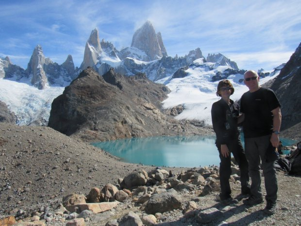 ARGENTINA: An Argentine trek took San Ramon residents Sylvia and Ric Arenasto the top of Lago del Los Tres Trail with views of the Fitz Roy massif. (Arenas Family photo)