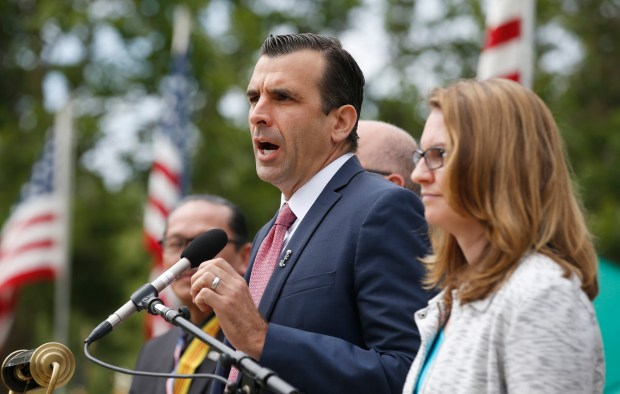 San Jose Mayor Sam Liccardo speaks during a Memorial Day ceremony honoring veterans at Oak Hill Cemetery on Monday, May 29, 2017, in San Jose, Calif. (Jim Gensheimer/Bay Area News Group)