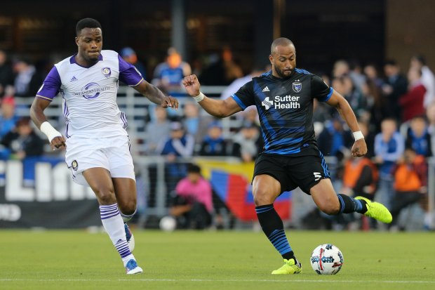 San Jose Earthquakes defender Victor Bernardez, right, clears ballWednesday night at Avaya Stadium during a scoreless first half against Orlando City Sporting Club on May 17, 2017. (Photo/ISI) Can use online. Can use in other DFM publications.