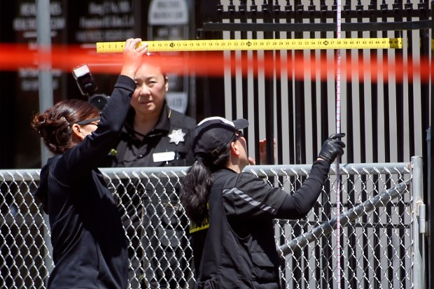 San Jose police investigate the scene of an officer-involved shooting on the 2200 block of Tully Road in San Jose, Calif., on Sunday, May 7, 2017. (Karl Mondon/Bay Area News Group)