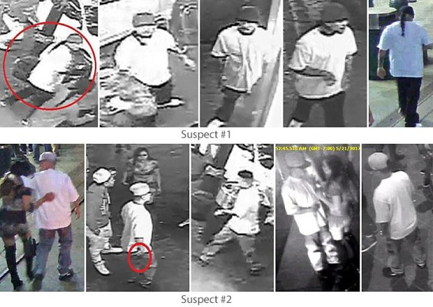 San Jose police are asking for the public's help in identifying the men shown in these surveillance photos. They are suspects in the stabbing of a San Jose State University football player at Post and South First streets on Sunday, May 21, 2017. (Courtesy of the San Jose Police Department)