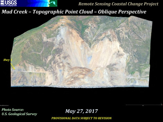 On May 27, 2017, the terrain at Big Sur's Mud Creek has slid, completely covering Highway 1. Travel into Big Sur is cut off. (Courtesy U.S. Geological Survey)