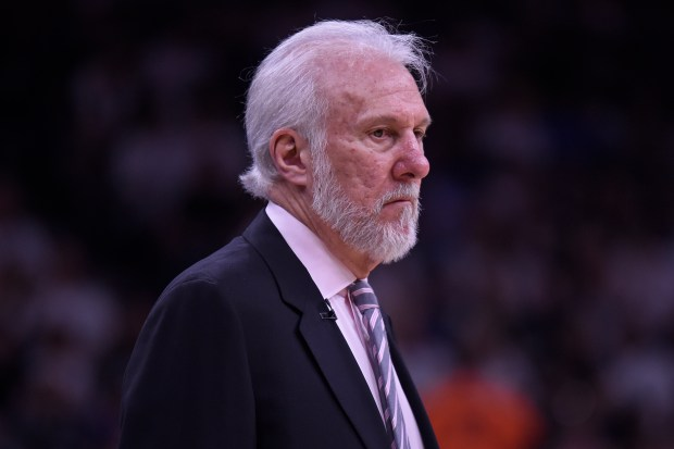 San Antonio Spurs head coach Gregg Popovich stands on the sideline while playing the Golden State Warriors during the third quarter of Game 3 of the NBA Western Conference Finals at AT&T Center in San Antonio, Texas, on Saturday, May 20, 2017. (Jose Carlos Fajardo/Bay Area News Group)
