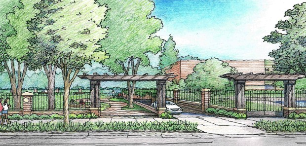 The new underground parking garage proposed by Castilleja School as part of its campus modernization promises to blend into the residential neighborhood. (Image courtesy of Steinberg)