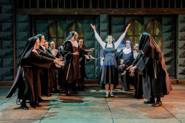 """Jessica Maxey as Sister Mary Roberts, center, belts one out with the nuns of the City of Angels Church in Hillbarn Theatre�s production of """"Sister Act,"""" playing through May 28, 2017. (Mark and Tracy Photography / Hillbarn Theatre)"""