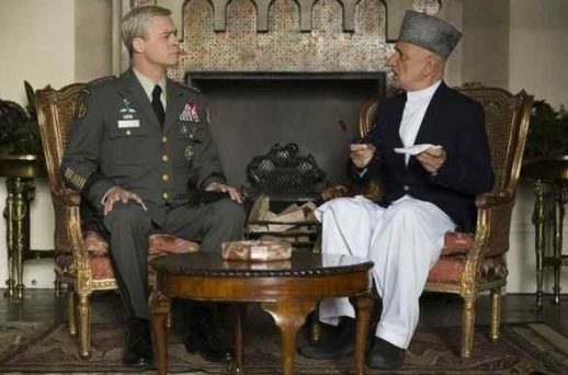 "Brad Pitt, left, and Sir Ben Kingsley in ""War Machine"" on Netflix. (Francois Duhamel/Netflix )"