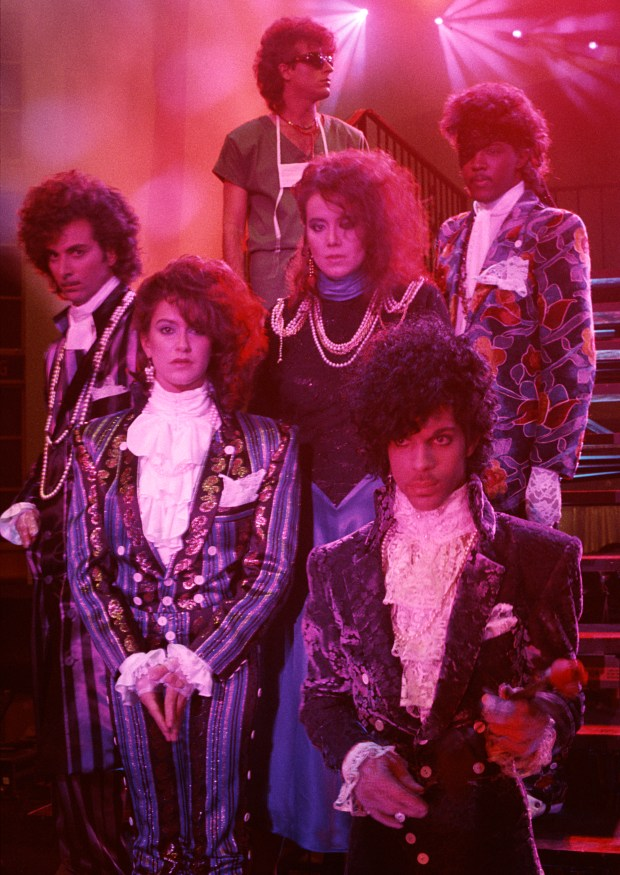 """Prince and the Revolution during their """"Purple Rain"""" days. Photo by Nancy Bundt"""