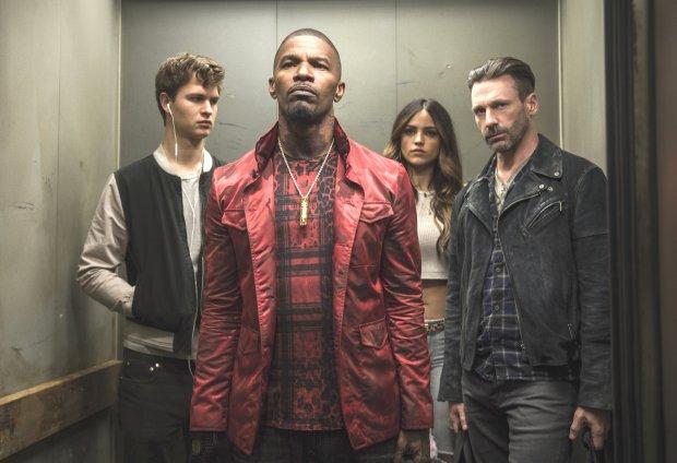 "Ansel Elgort, left, Jamie Foxx, Eiza Gonzalez and Jon Hamm in ""BabyDriver."" (Wilson Webb/Sony/TriStar)"