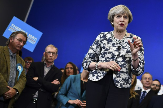 Theresa May, Britain's prime minister and leader of the Conservative Party, speaks during a campaign visit at The Space on June 7, 2017 in Norwich, United Kingdom. (Photo by Ben Stansall - WPA Pool/Getty Images)