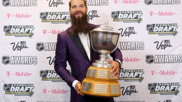 LAS VEGAS, NV - JUNE 21: Brent Burns of the San Jose Sharks poses after winning the James Norris Memorial Trophy (Top Defenseman) during the 2017 NHL Awards and Expansion Draft at T-Mobile Arena on June 21, 2017 in Las Vegas, Nevada. (Photo by Bruce Bennett/Getty Images)