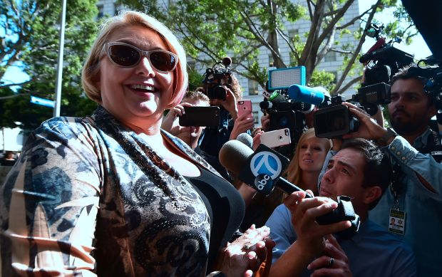 Samantha Geimer speaks to the press before entering the courthouse in Los Angeles, California on June 9, 2017. (Frederic J. Brown, AFP Getty)