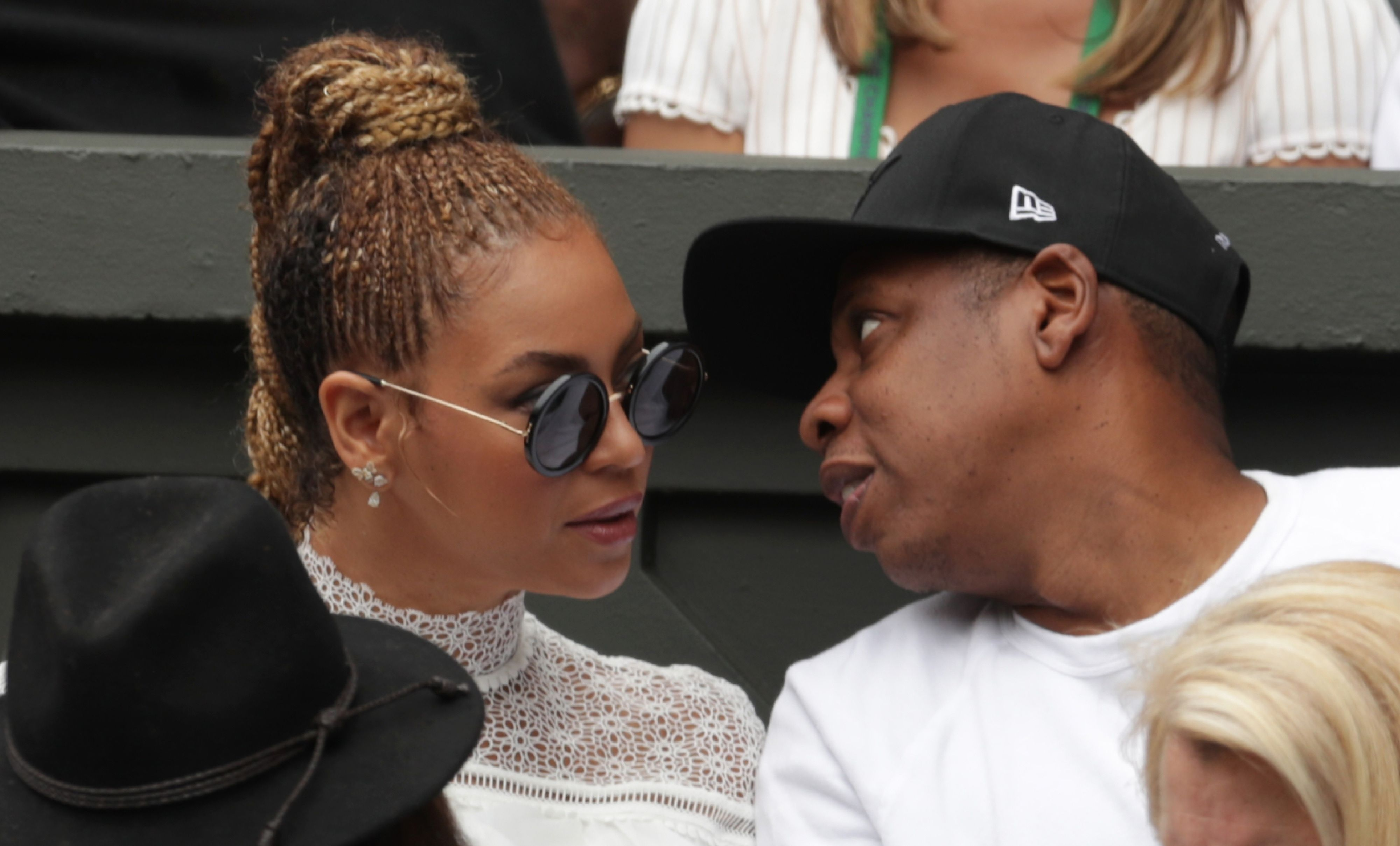 9 2016 shows US singer Beyonce and her husband US rapper Jay Z sitting in the players box to watch Serena Williams play against Germany's Angelique Kerber during the women's singles final of the 2016 Wimbledon Champi
