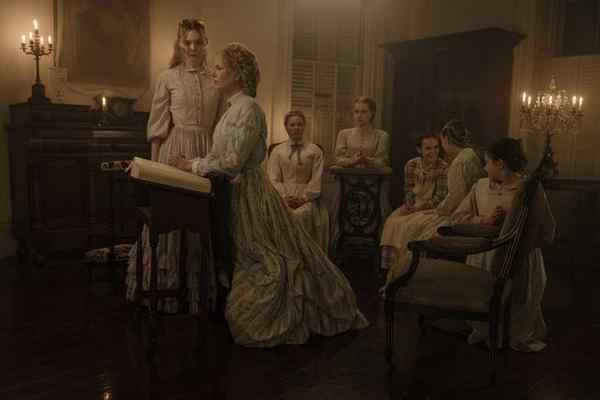 "Elle Fanning as Alicia, from left, Nicole Kidman as Miss Martha, Kirsten Dunst as Edwina, Angourie Rice as Jane, Oona Laurence as Amy, Emma Howard as Emily, and Addison Riecke as Marie in Focus Features' atmospheric thriller ""The Beguiled,"" written for the screen and directed by Sofia Coppola. (Ben Rothstein / Focus Features )"