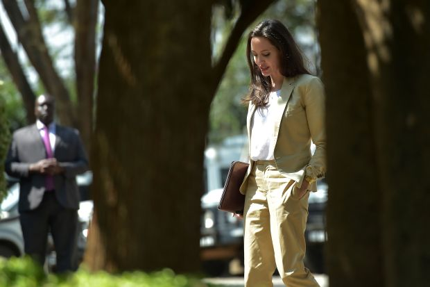UNHCR Special Envoy Angelina Jolie, arrives to address International Peace Support Training Centre (IPSTC) staff members and other attendees on June 20, 2017 in Nairobi during a training on the sexual violence prevention in conflicts. / AFP PHOTO / SIMON MAINASIMON MAINA/AFP/Getty Images