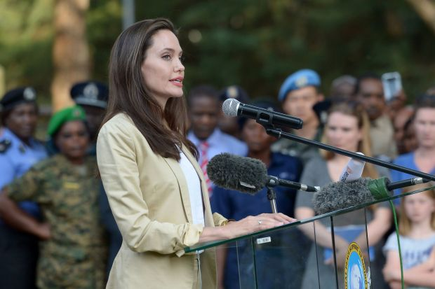 UNHCR Special Envoy Angelina Jolie, addresses International Peace Support Training Centre (IPSTC) staff members and other attendees on June 20, 2017 in Nairobi during a training on the sexual violence prevention in conflicts. / AFP PHOTO / SIMON MAINASIMON MAINA/AFP/Getty Images