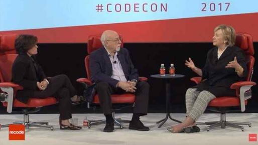 Former Secretary of State and presidential candidate Hillary Clinton spoke with Recode co-founder Kara Swisher and editor Walt Mossberg about her campaign, Russian interference in the 2016 election and the weaponization of technology. May 31, 2017. (Courtesy Recode)