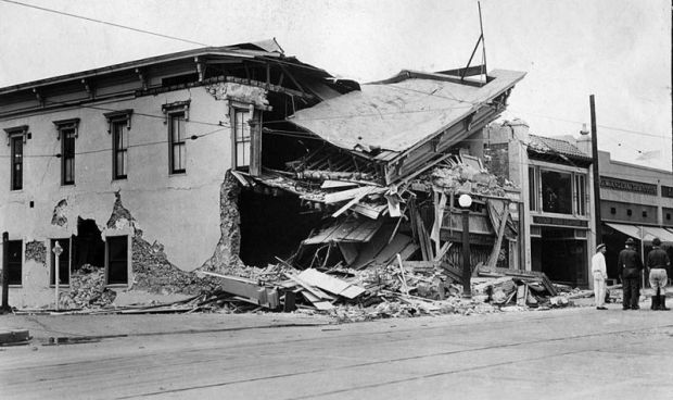 June 29, 1925: Ruins of State Street store in Santa Barbara after earthquake. This photo was published in the June 30, 1925 Los Angeles Times.